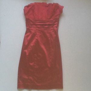 Red, strapless party dress